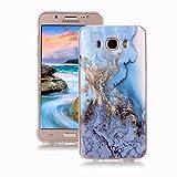 Yunbaoz Funda para Samsung Galaxy J5 2016 Mármol, Diseño Mármol Carcasa Suave TPU Silicona Marble Case Suitable for Samsung Galaxy J5 2016 - Mar Azul/Dorado