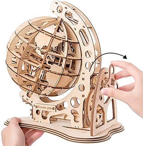 NA ZT Rompecabezas de Madera 3D, DIY 3D Rotating Globe Puzzle Modelo 3D Jigsaw Puzzle for Adolescentes y Adultos, Rompecabezas de Madera 3D (Color : 3D Wooden Puzzle)