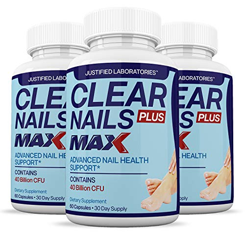 (3 Pack) Clear Nails Plus Max Pills 40 Billion CFU Probiotic Supports Strong Healthy Natural Clear Nails 60 Capsules