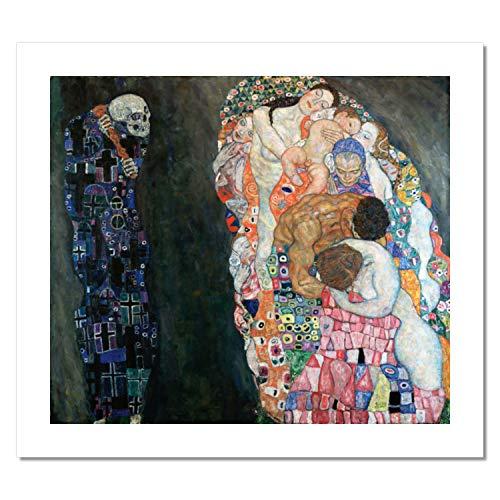 Niik Stampa la Vita e la Morte di Gustav Klimt 100 x 86 cm Falso d'autore su Tela