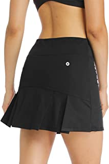 Ibeauti Womens Back Pleated Athletic Tennis Golf Skorts Skirts with 3 Pockets Mesh Shorts for Running Active Workout