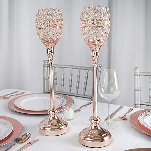 """Efavormart Rose Gold 16"""" Tall Crystal Candle Holder Goblet Votive Wedding Chandelier Decorative Centerpiece Set of 2"""