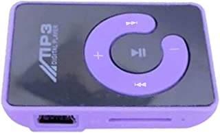 KESOTO MP3 Player Compact and Portable Music Media Player with Fashion Clip Mirror MP3 for Sport Runing Earbud Headphones for SD TF Card - Purple