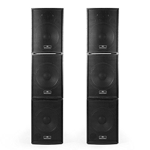 Malone Black Box 6 PA-Lautsprecher Aktivboxen Set (2 x aktiver Subwoofer 400 Watt RMS, 2 x passiver Subwoofer, 2 x aktive Satelliten 300 Watt RMS, PA-Kabel) schwarz