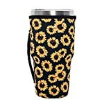 Reusable Iced Coffee Cup Sleeve Neoprene Insulated Sleeves Cup Cover Holder Idea for 30oz - 32oz Tumbler Cup, Trenta Starbucks, Large Dunkin Donuts (Only Cup sleeves) (Sunflower)