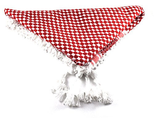 Authentic Shemagh, Keffiyeh, Hattah, Middle Eastern Headdress (Red/White)