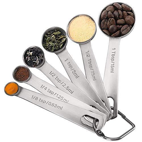 LilyJudy - Set di 6 cucchiai dosatori in acciaio, misurini con misure metriche e statunitensi, per misurare ingredienti secchi e liquidi