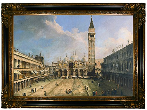"Historic Art Gallery c1016-canaletto0011-19x28-cmfr238gb98 HistoricArtGallery-The Piazza San Marco in Venice 1723 by Canaletto Framed Canvas Print-Gold & Black Gallery-19x28, 19"" x 28"""