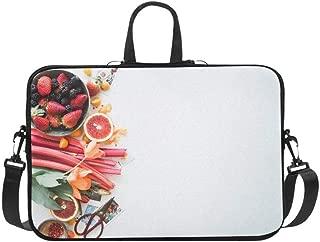 Delicious Strawberry Mulberry Orange Lemon and Flower Pattern Briefcase Laptop Bag Messenger Shoulder Work Bag Crossbody Handbag for Business Travelling
