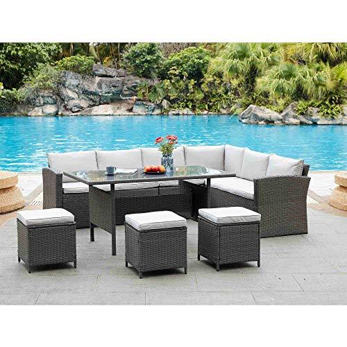 DecoInParis - Conjunto de sofá esquinero de resina trenzada para 8 personas, diseño de princesa