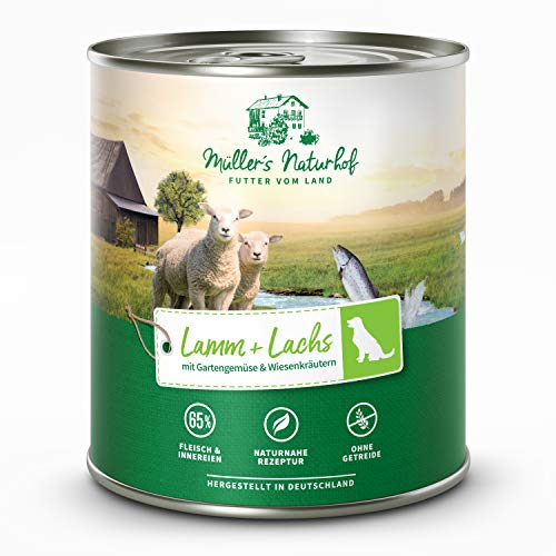 Müllers Naturhof - Lamm und Lachs - 6 x 800 g - Nassfutter für alle Hunderassen - getreidefrei und glutenfrei - mit Gartengemüse und Wiesenkräutern - naturnahe Rezeptur mit 65% Fleisch und Fisch