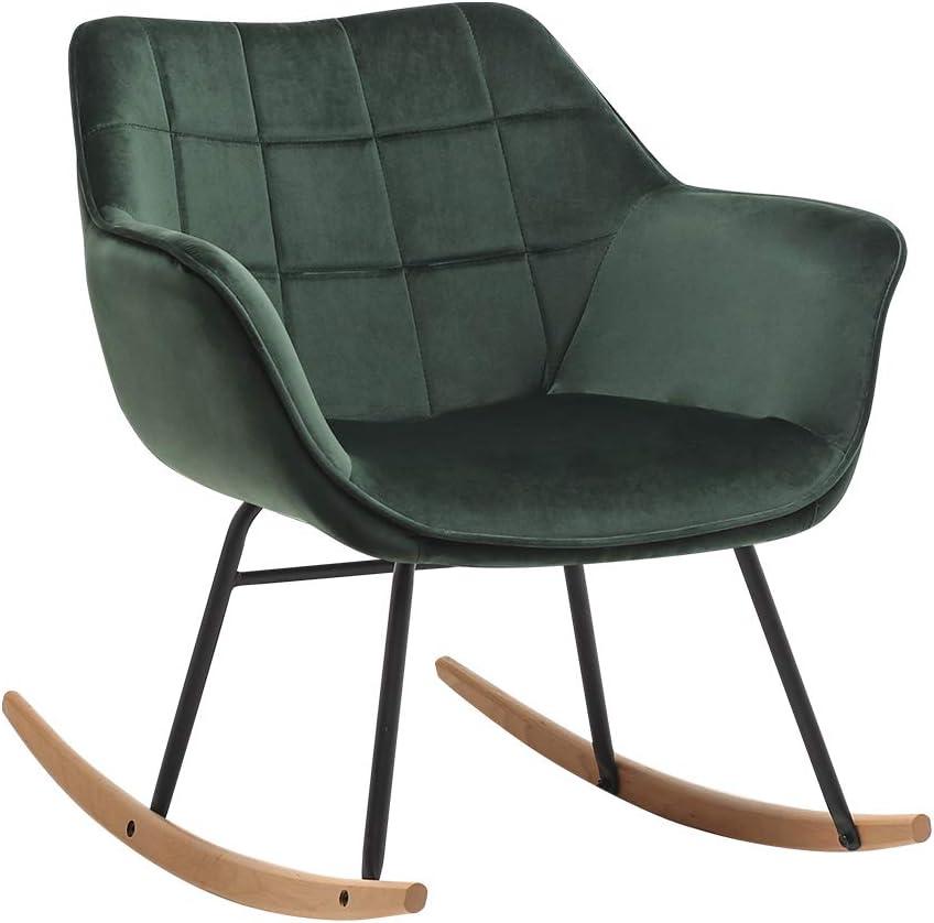 materiale:velluto Duhome Sedia a Dondolo design retro poltrona a dondolo con piedini in metallo e legno sedia imbottita poltrona poltroncina colore:verde scuro