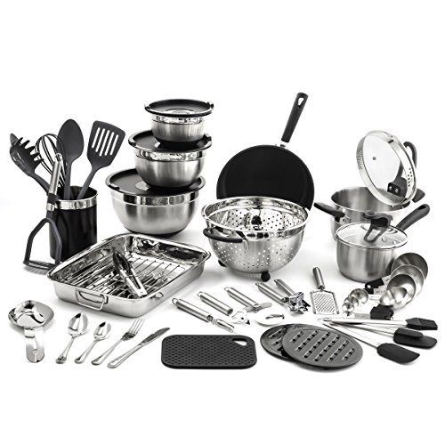 Old Dutch 58 pc. Kitchen in a Box Cookware Sets, Piece, Stainless Steel, Black