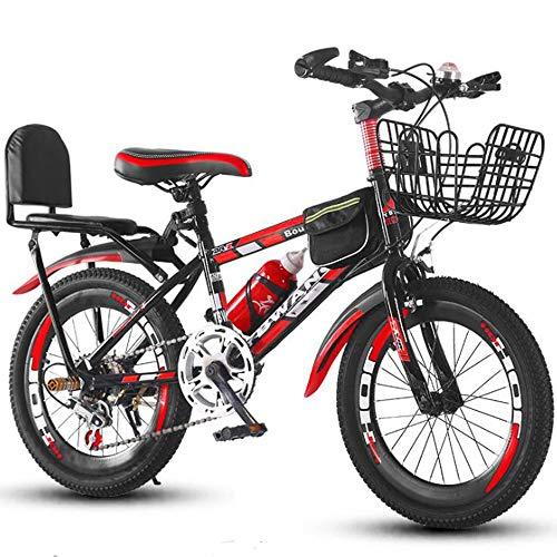 YumEIGE Fietsframe 18,20 inch koolstofstaal, voor gebruik buitenshuis van de fiets met achterbank en gevoelige rem, variabele snelheid, kinderfiets, blauw, groen, ross 20in Rood