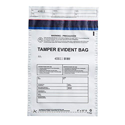 USPACKSMART Deposit Bags with Security Tape Tamper Evident 100-Pack Opaque Plastic for Bank Deposits and Cash Handling 12x16 Ref 813-00