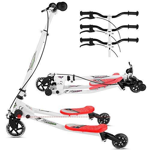 Lonlier - Patinete en forma de Y con 3 ruedas. Plegable, propulsado mediante balanceo, para niños de 5 a 8 años, rojo