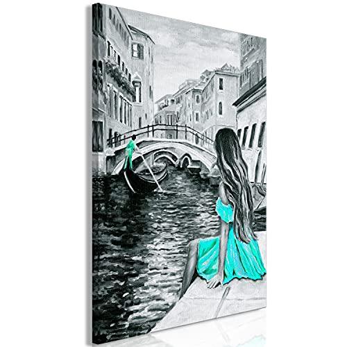 murando Cuadro en Lienzo Ciudad Venecia 80x120 cm impresión en Material Tejido no Tejido impresión artística fotografía Imagen gráfica decoración de Pared como Pintado Gris Turquesa Azul d-C-0157-b-d