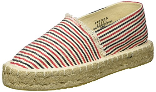 PIECES Damen PSHAILA Espadrillos Stripe Espadrilles, Pink (High Risk Red), 41 EU