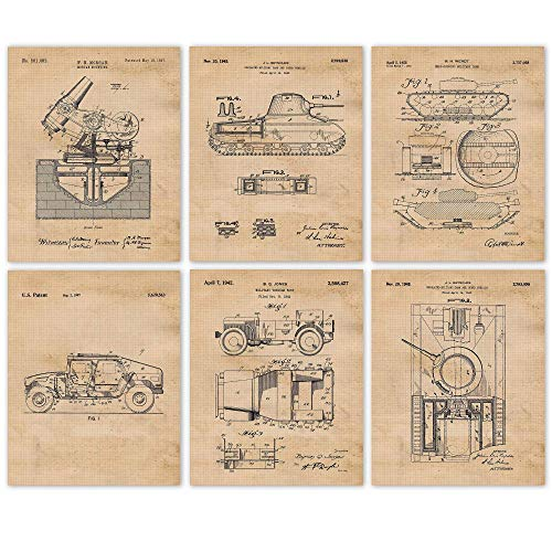 Vintage Military Patent Art Poster Prints, Set of 6 (8x10) Unframed Photos, Great Wall Art Decor Gifts Under 20 for Home, Office, Garage, Man Cave, Shop, Student, Teacher, US Veterans, Hero & Fan