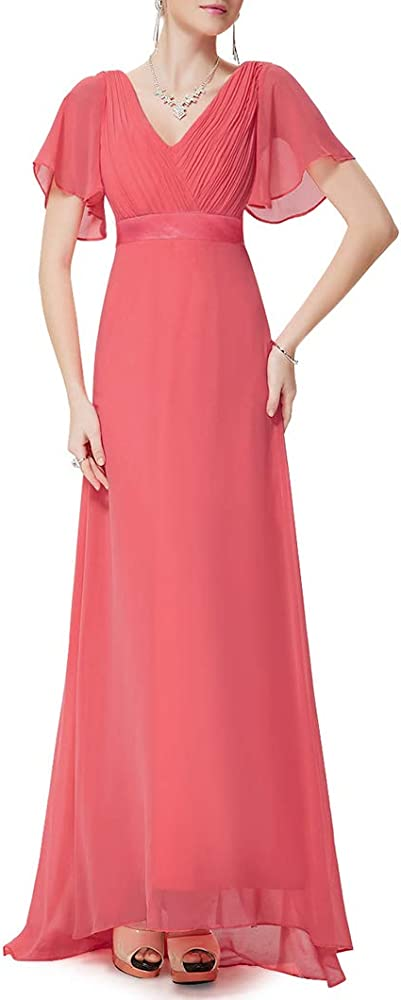 Ever-pretty vestito da cerimonia lungo per donna scllo a v e maniche corte in pizzo e chiffon EP09890DN04