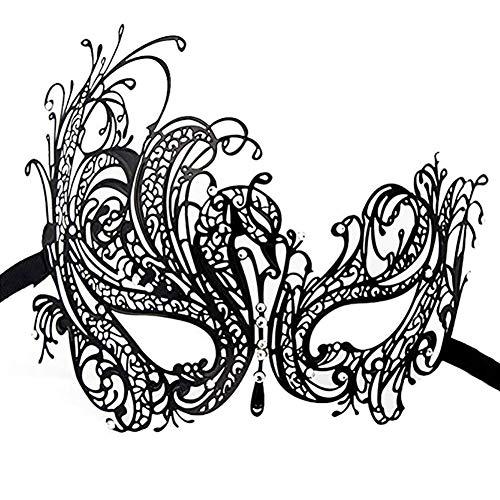 FeiLuo Máscara de Metal de Venecia Máscaras de Diamante de Princesa de Halloween, Mujeres Antifaz para Veneciano Mascarada Carnaval Fiesta de Baile, Negro (Phoenix)