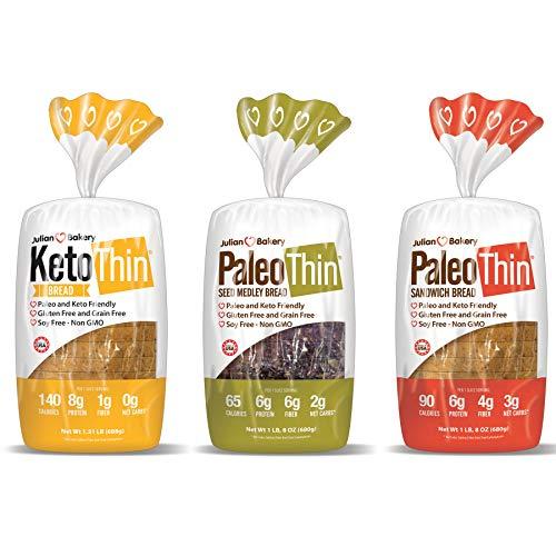 Julian Bakery Paleo & Keto Thin Bread | Variety Pack | Gluten-Free | Grain-Free | Low Carb | 3 Pack