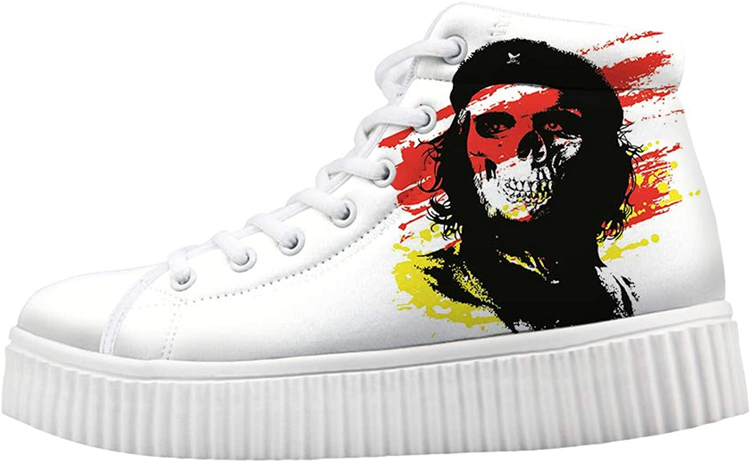 Owaheson Platform Lace up Sneaker Casual Chunky Walking shoes Women Skull Communist Fighter Che Guevara