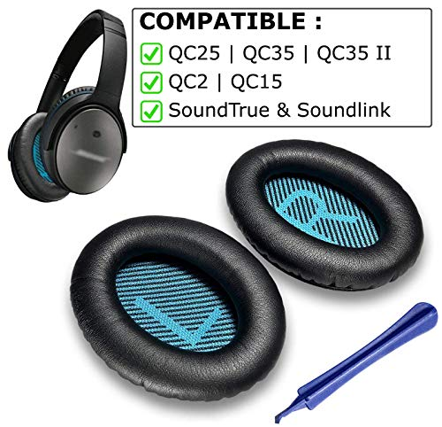 Replacement Ear Pads for Bose QC25 Compatible Replacement Ear Pads with QC25 - Compatible with QC25 QC35 QC2 QC15 Ae2 Ae2i Ae2w SoundTrue & SoundLink Ear Cushion [Black/Black]