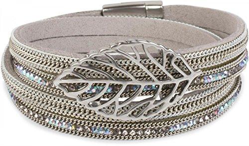 styleBREAKER Wickelarmband mit Strass und Ketten, Blatt Anhänger, Magnetverschluss, Armband, Damen 05040069, Farbe:Hellgrau