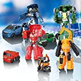 5-in-1 Car Transforming Robot Toys for Kids Toddler Car Body Deformation Robot Action Model Children's Toys Playset DIY Manual Assemble Function Educational Toys (Police Car)