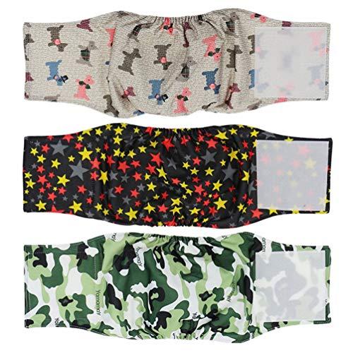 Hanyi 3 Stück Waschbare & Wiederverwendbare Hundewindeln Physiologische Hosen Bauchband für Männliche Hunde (M(Taillenumfang:34-44cm))