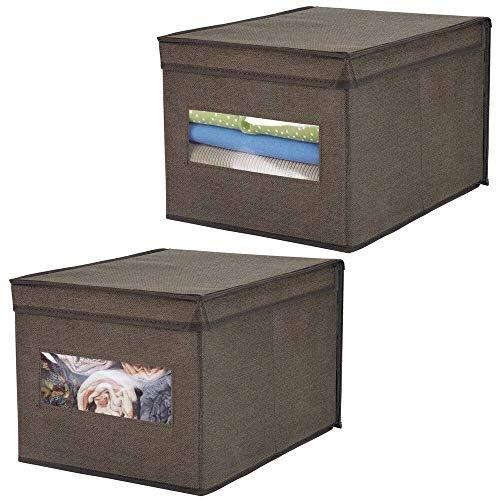 mDesign Set da 2 Scatole portaoggetti impilabili con finestra trasparente – Grande box con coperchio per l'armadio della camera – Cesta per vestiti con coperchio in tessuto sintetico – marrone scuro