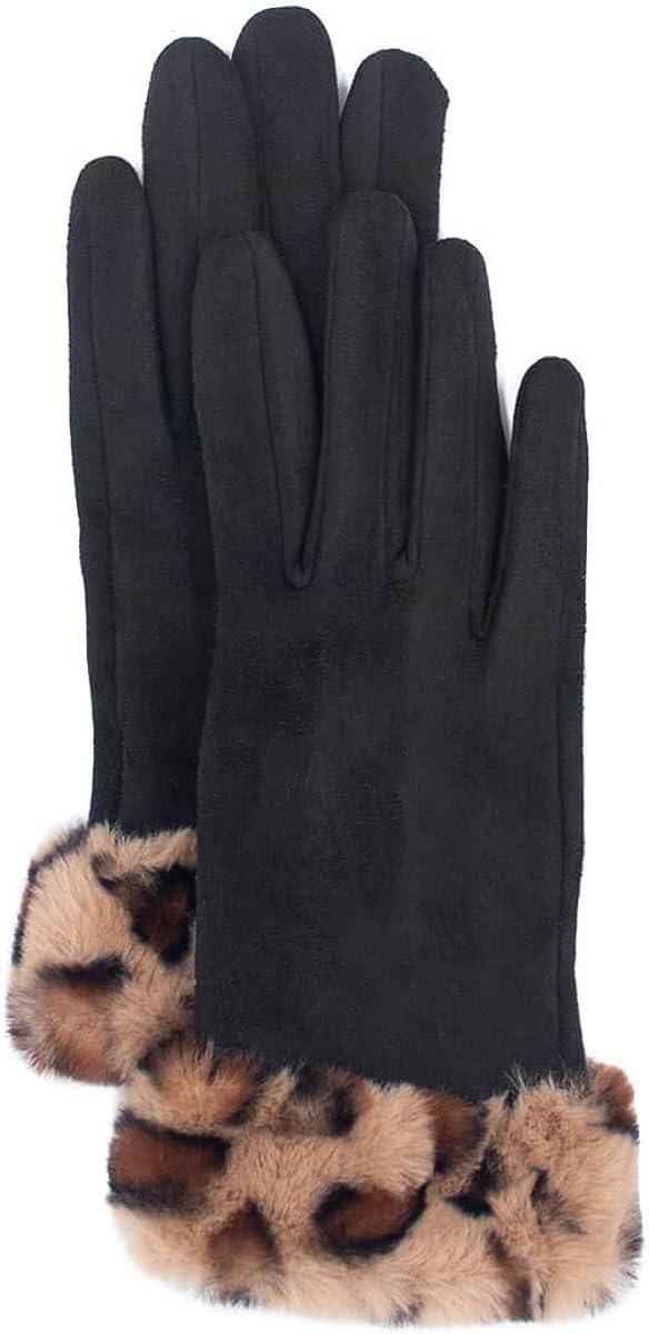 surell - Faux Suede Gloves with Faux Rex Rabbit Fur Leopard Print Cuff (Black, Spot)