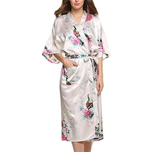 Asskyus Traje de Kimono de Robe Largo del sueño de Las Mujeres, Albornoz del Pavo Real y Flores del Traje Floral (L, Blanco)