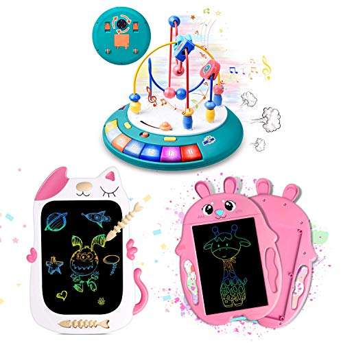 GJZZ Baby Toys 12 - 18 Months, Bead Maze Einstein UFO Toy and LCD Drawing Doodle Board for 3-7 Year Old Girls Gifts