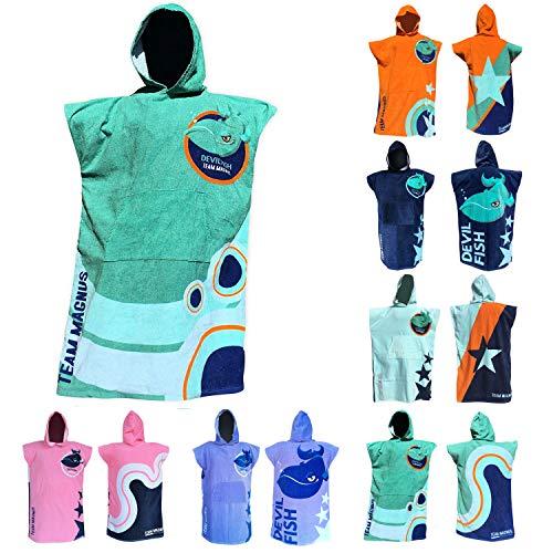TEAM MAGNUS Kinderhandtuch im Poncho-Stil mit 6 coolen Designs (Einheitsgröße 120-170cm)