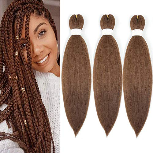 EASY Braiding Hair Pre Stretched Kanekalon Professional Perm Yaki natural Synthetic Braids Hair Brown Synthetic Fiber Crochet Braiding Hair Extension 20inch 3pcs