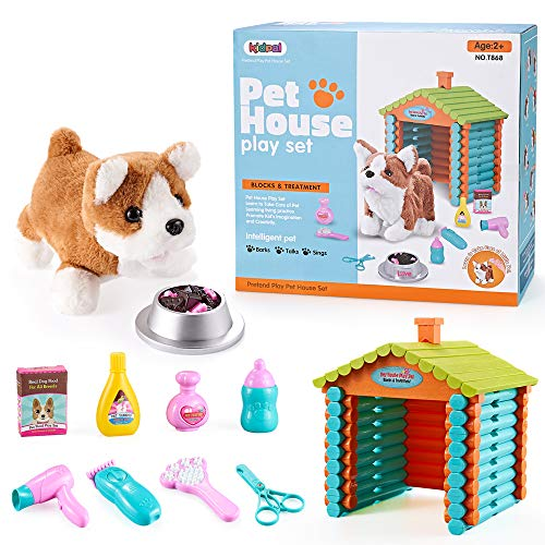 Pretend Play Toy My Lift Pet Toy Dog DollHouse for Little Girls & Boys with 103pcs Buildling Logs, Plush Puppy Dog Play set for Kids 4 5 6 Year Old Pet Care Toys| 10pcs Dog, Bowl, Food & Accessories
