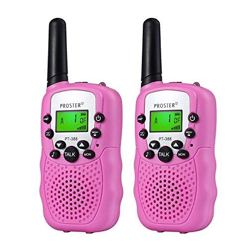 Proster Walkie Talkies - Set di 2 walky Talky, a Lunga Distanza, 8 canali, Radio bidirezionale con Luce LED sulla Parte Superiore (Rosa)