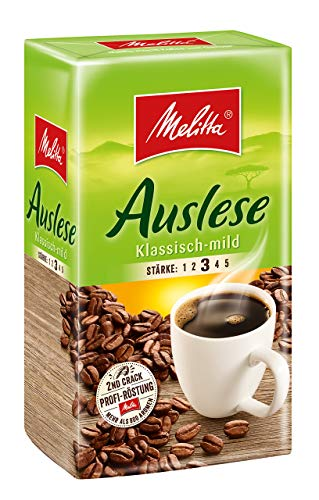 Melitta Auslese Klassisch Mild Stärke 3 Gemahlener Röstkaffee, 500g