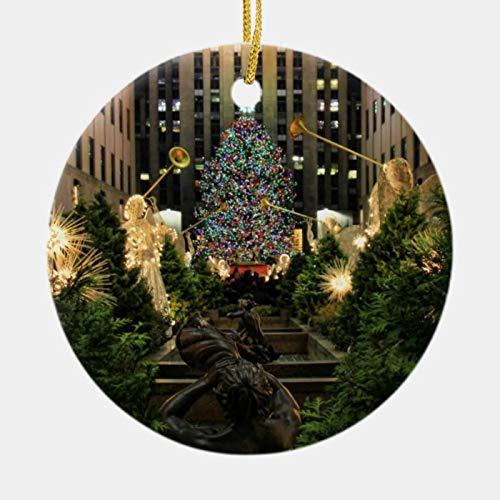 McC538arthy New Home Christmas Ornament NYC Rockefeller Center Christmas Tree, Angels New House Ornaments Ceramic Keepsake Housewarming Gift 3''