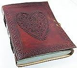 Diario de piel grande Honey Leather Exporters, de estilo vintage con corazón en relieve, con cierre de bloqueo, encuadernado