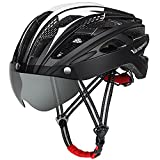 VICTGOAL Bike Helmet for Men Women with Safety Led Back Light Detachable Magnetic Goggles Visor Mountain & Road Bicycle Helmets Adjustable Adult Cycling Helmets (New Black)