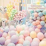 Nasharia Bunte Luftballons,100 Stück Luftballons Bunt Latexballons, Ballons Pastell Macaron für Hochzeit Weihnachten Geburtstag Luftballon Party Deko