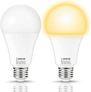 LOHAS LED Bulb 150W Equivalent Dusk to Dawn Light, A21 Light Sensor LED Bulb 1580 LM, Soft White 3000K Smart Automatic On/Off Porch Lights, E26 Base Security Lighting for Patio Garage, 2 Pack