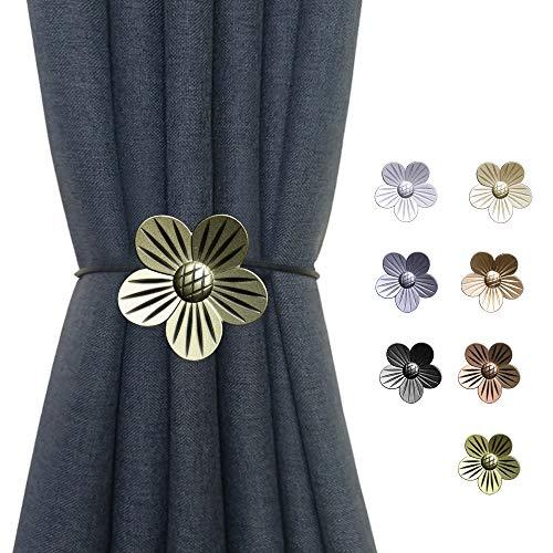 DEZENE Magnetic Curtain Tiebacks Holdbacks: Pack of 4 Rust-Proof Metal Flower Magnet Drapery Tiebacks for Indoor Window, Outdoor Patio, Brass, 16 Inch Long
