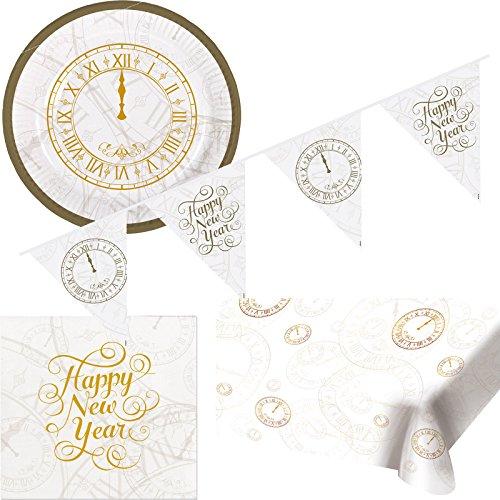 26-delige partyset * Happy New Year * voor oudejaarsavond // met borden + servetten + wimpelketting + tafelkleed // party decoratie goud zilver zwart Vrolijk jaar