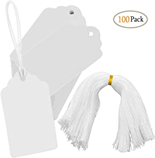 White Marking Tags CiaraQ 100pcs Price Tags Writable Display Labels with Hanging String for Product Jewelry Clothing, 1.97 x 3.54inch