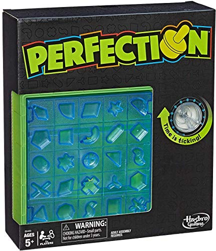 Hasbro Gaming Perfection Neon Pop Board Game for Kids Ages 5 & Up for 1 or More Players