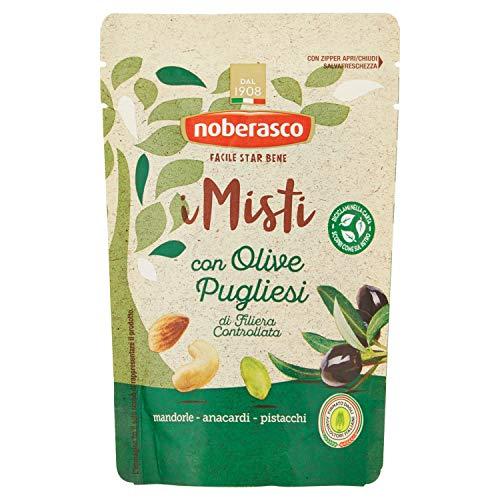 Noberasco i Misti con Olive Pugliesi di Filiera Controllata-Misto di frutta secca sgusciata e olive nere denocciolate-Cartone da 16 Pezzi da 120 Gr